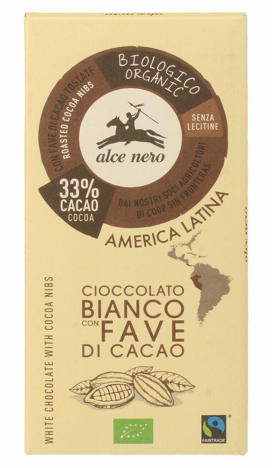 Фото №2 ALCE NERO Шоколад Белый с дроблеными зернами какао плиточный  100 г