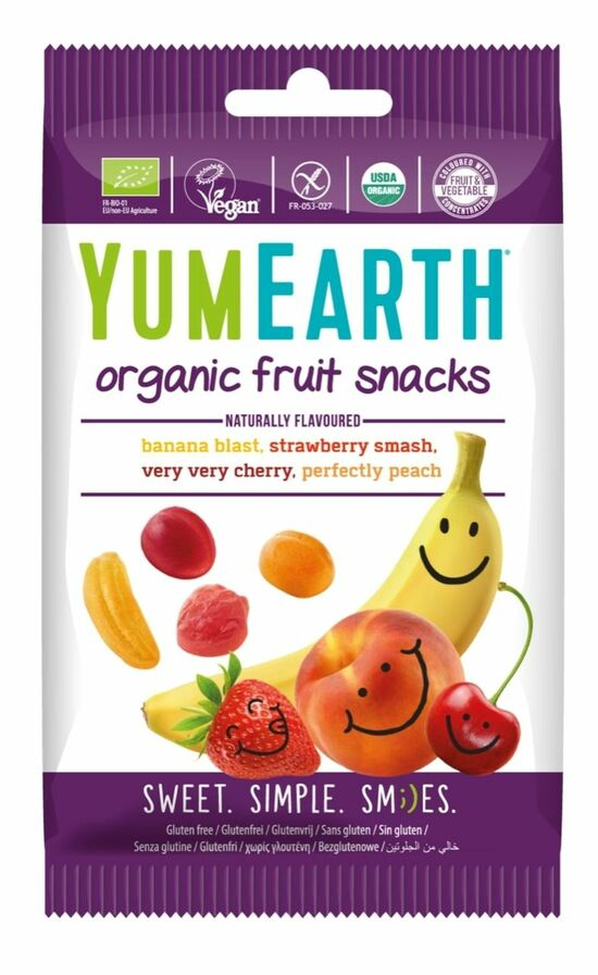 Фото №2 YUMEARTH Мармелад жевательный органический со вкусами Клубника, Вишня, Персик, Банан 50 г