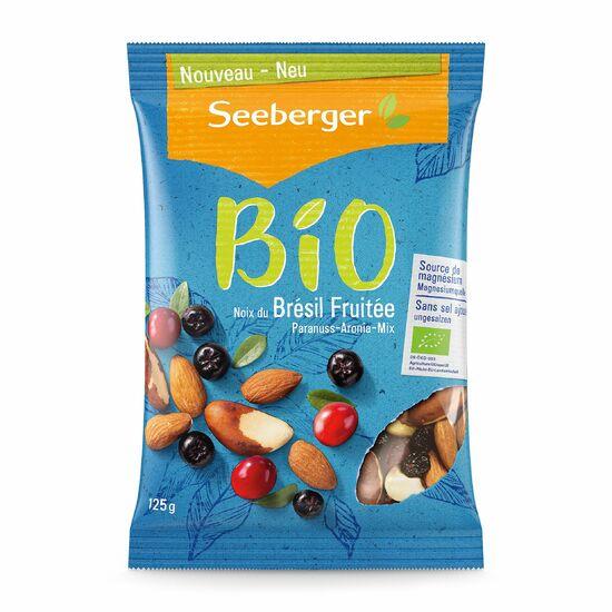 Фото №2 SEEBERGER BIO Смесь обжаренных ядер бразильского ореха, миндаля, черноплодной рябины и мягкой клюквы с сахаром 125 г