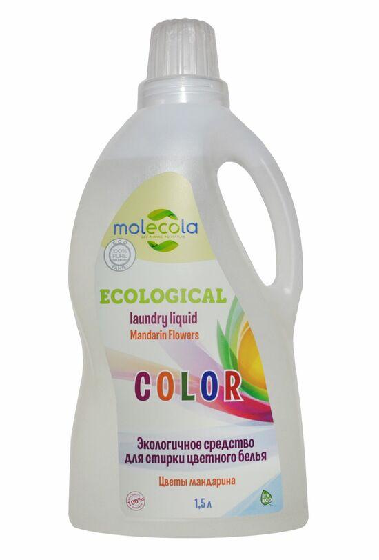 Фото №2 MOLECOLA Универсальный гель для стирки цветного белья Цветы мандарина экологичный 1500 мл