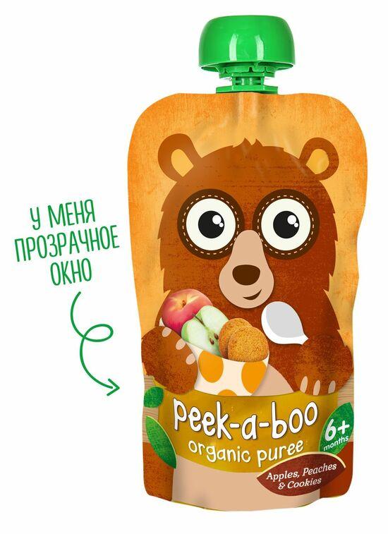Фото №2 PEEK-A-BOO Пюре фруктовое из яблок-персиков со вкусом печенья с 6 мес 113 г