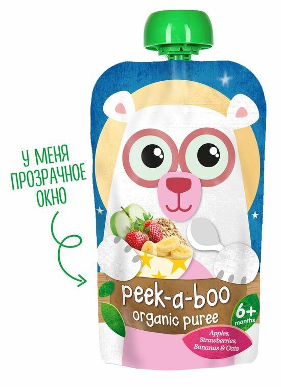 Фото №2 PEEK-A-BOO Пюре яблоко-банан-клубника-овёс 6 мес 113 г