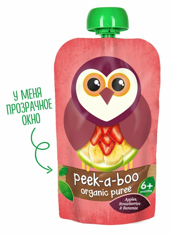 Фото №2 PEEK-A-BOO Пюре яблоко-банан-клубника с 6 мес 113 г