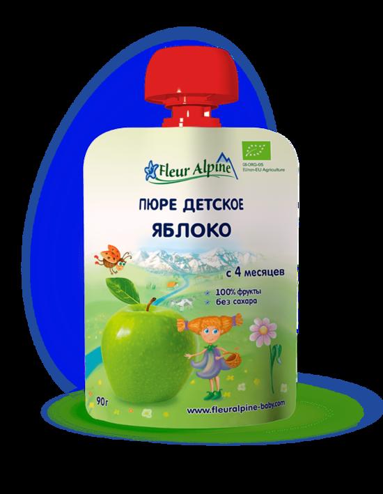 Фото №2 ФЛЁР АЛЬПИН Пюре яблоко с 4 мес пауч 90 г