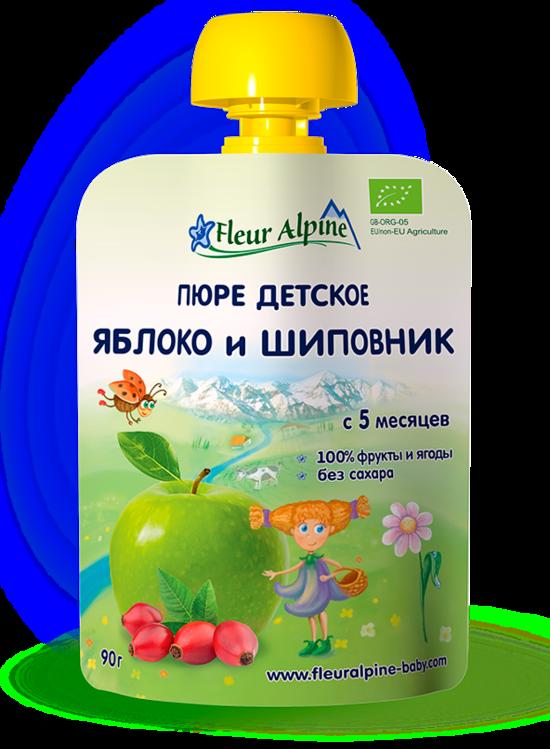 Фото №2 ФЛЁР АЛЬПИН Пюре яблоко-шиповник с 5 мес пауч 90 г