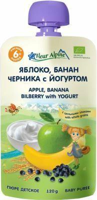 Фото №2 ФЛЁР АЛЬПИН Пюре яблоко-банан-черника-йогурт с 6 мес пауч 120 г