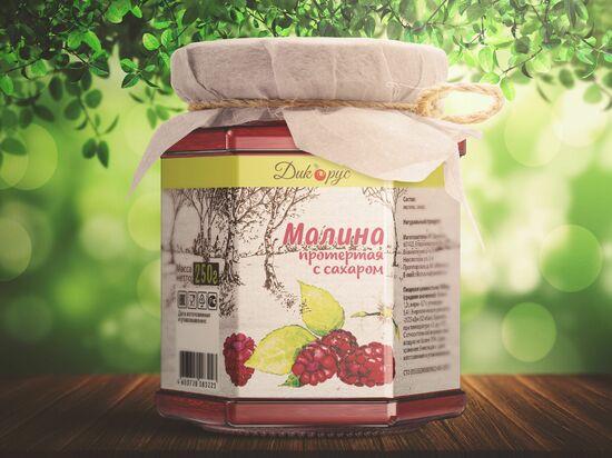Фото №2 ДИКОРУС Малина протертая с сахаром 250 гр