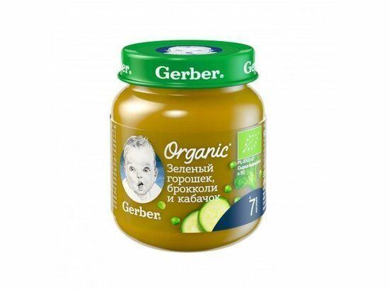 Фото №2 GERBER Органик пюре Зелёный горошек-брокколи-кабачок с 7 мес 125 г
