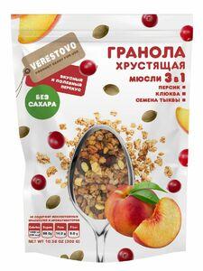 фото VERESTOVO Гранола хрустящая  персик клюква семена тыквы Без сахара 300г