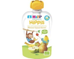 фото HIPP Пюре яблоко-груша-банан с 6 мес пауч 100 г