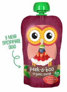 фото PEEK-A-BOO Пюре фруктово-йогуртное Греческий йогурт с ягодами с 6 мес 113 г