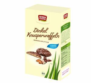 фото ROSENGARTEN Вафли из полбы в молочном шоколаде с миндалём 100 г