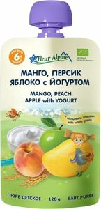 фото ФЛЁР АЛЬПИН Пюре манго-персик-яблоко-йогурт с 6 мес пауч 120 г