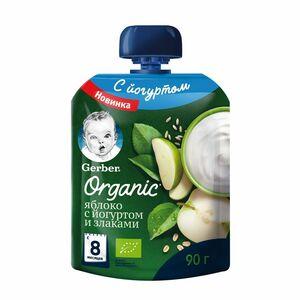 фото GERBER Органик пюре Йогурт-яблоко-злаки с 8 мес пауч 90 г