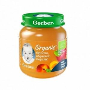 фото GERBER Органик пюре Яблоко-абрикос-персик с 5 мес 125 г