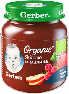 фото GERBER Органик пюре Яблоко-малина с 5 мес 125 г